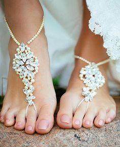 barefoot crochet sandals | Arianna Barefoot Sandals - ARS008, chunky diamante & pearl crochet ...