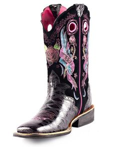 GREAT PRICE!  Ariat Women's RodeoBaby Rocker Square Toe Cowgirl Boot - Black Anteater Print/Black Tattoo  http://www.countryoutfitter.com/products/28003-womens-rodeobaby-rocker-square-toe-boot-black-anteater-print-black-tattoo #cowgirlboots