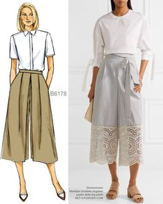 Sew the Look: Butterick B6178 culottes sewing pattern. Try half lace/ half poplin like this.
