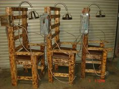 electric chairs for torture Halloween scene