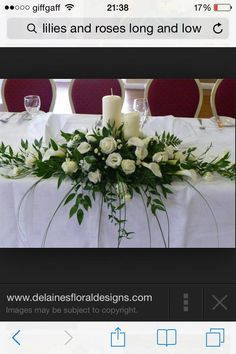 Top table flowers, we liked the shape, with hanging foliage and foliage to the s… - Bridal Flowers Altar Flowers, Church Flowers, Wedding Table Flowers, Bridal Flowers, Floral Wedding, Hanging Flowers, Flowers Garden, Table Flower Arrangements, Wedding Arrangements