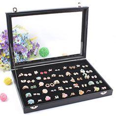 Wuligirl 100 Slot Ring Velvet Jewelry Box Storage Jewelry...