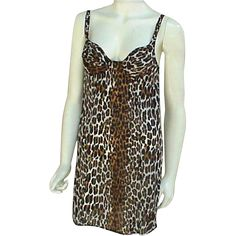 Vintage leopard print mini nightgown or slip; bust 34A with built in bra. Clean and ready to wear by Vanity Fair. Measurements:  Bust 30 - 34 (tag