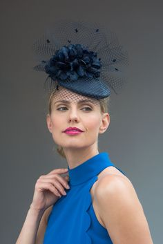 Sophie: Handcrafted in our London studio. Straw cocktail hat with veiling and feathers.