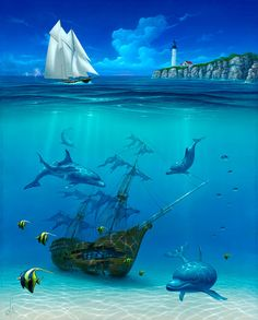 Sailboat painting: Artist David Miller, underwater shipwreck, Dolphin art and dolphin paintings by David Miller Underwater Painting, Underwater Sea, Dolphin Art, Ship Paintings, Wale, Sea Art, Ocean Creatures, Fish Art, Live Wallpapers