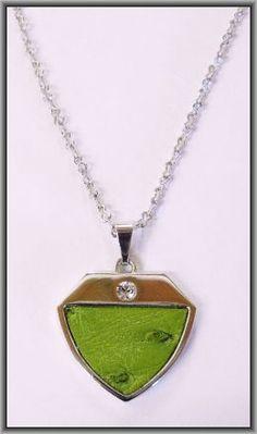 Ostrich leather crystal small pendants - Chartreuse OPSB02 Pendants, Pendant Necklace, Crystals, Leather, Jewelry, Fashion, Moda, Jewlery, Jewerly