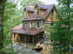 Cabin with square logs - Natural Element Homes