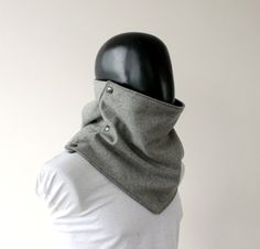 Men scarf. Extra Wide Light grey wool with metalic by CheriDemeter