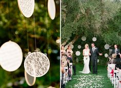 Okay so I've seen this before with vintage fabrics, both from etsy and @Jennifer Pinkerton, but the vintage LACES in hoops for a wedding?  Stunnnnnning.  Love it.  Gotta have it.  As a wall hanging, these would probably look pretty ho-hum unless you have some kind of amazing wall color, but hanging freely and twisting in the wind?  J'adore.