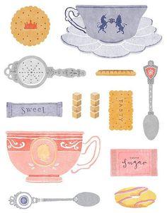 So la da di da di we like to tea party #Tea #thé #chá #茶 #té #tè #お茶 #par-tea #cup #mug #xícara #illustration #ilustração #poster