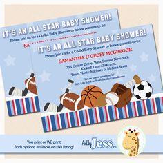 All Stars Sports Boys Baby Shower Invitation by AllPetsCherished, $12.00