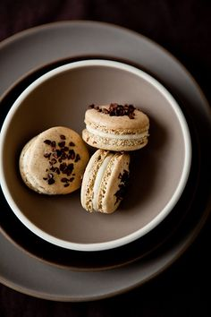Pistachio Cocoa Nib Macarons With Bourbon Buttercream:dishes by Heath Ceramics