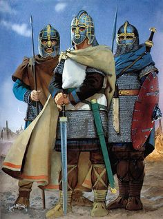 """Saxon warriors, southern England, 6th century AD"", Angus McBride"