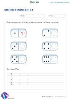 Fiche PDF Maths MS Compter et Écrire les chiffres de 1 à 6 -Dénombrer les constellations de 1 à 6 éléments et y associer des nombres. Maternelle Moyenne Section Math Lessons, Little Sisters, Kindergarten, Homeschool, Education, Recherche Google, Ps, Grande Section, Vogue