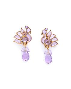 Amethyst Bird Earrings Handcrafted in Jaipur MUNNU/THE GEM PALACE