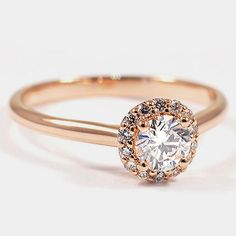 14K Rose Gold  Halo Diamond Ring // Set with a 0.50 Carat, Round, Super Ideal Cut, E Color, VS2 Clarity Diamond #BrilliantEarth