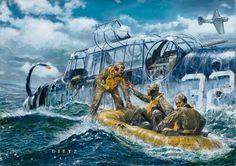 Grumman TBF/TBM Avenger, con sus tres tripulantes en el agua durante la 2ª Guerra Mundial