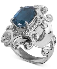 Carolyn Pollack London Blue Topaz Filigree Statement Ring (3-1/3 ct. t.w.) in Sterling Silver - Silver
