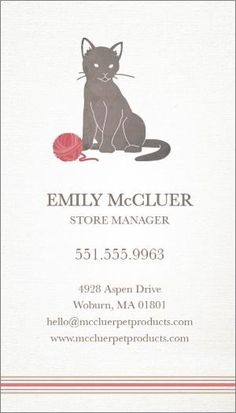 "@123Print Pets + Animals Business Card Design - ""A Feline Favorite"""