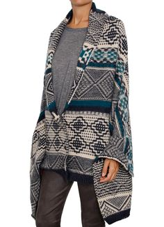 Bgo & me: Knitted cardigan/cape ethnic blue/green