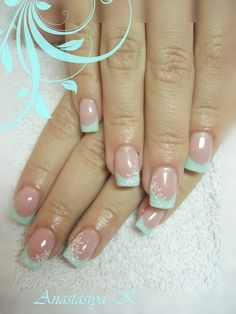 Mint nails with white accents