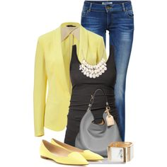 Work Outfits with Jane Stone White Tear Drop Bib Necklace Beautiful Wedding Jewelry 3 Layers Necklace Fashion Statement Necklace Look Fashion, Spring Fashion, Autumn Fashion, Fashion Outfits, Womens Fashion, Fashion Ideas, Yellow Blazer, Jeans And Flats, Business Casual Outfits