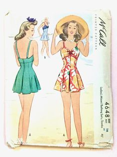 Visit Fancywork Patterns at https://www.etsy.com/shop/Fancywork?ref=shopsection_shophome_leftnav Bust 34 McCall 4648; 1940s; Ladies & Misess Bathing Suit and Trunks. Pattern is used, complete and in good vintage condition with printed pattern pieces. Original, Authentic Vintage. Not a