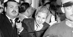 Eva Peron caught relaxed and smiling at a political rally in support of her husband.