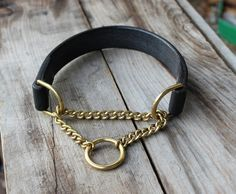 Half-check chain martingale leather dog collar by MJLeatherwork
