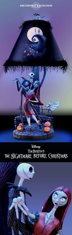 "Bursting with fabulously frightening details, this blue ""moonlight"" lamp is a glorious tribute to Tim Burton's classic film. Jack Skellington, Nightmare Before Christmas Lamp, Diy Halloween, Primer Halloween, Happy Halloween, Halloween Decorations, Halloween Makeup, Tim Burton, Siting Room"