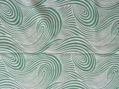 GREEN WHITE SWIRLY SYNTHETIC STRETCHY KNIT VINTAGE FABRIC 1980S RETRO