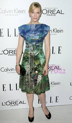 Cate Blanchett looked like a perfectly painted picture on Monday night at Elle's Women in Hollywood event in Beverly Hills. The actress glowed in a waist-cinching Proenza Schouler dress featuring a bright graphic print inspired by German artist Gerhard Richter.