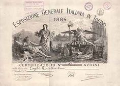 Esposizione Generale Italiana in Torino Azione 1 Anteil von 1884.