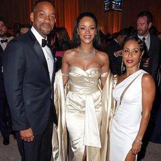 Rihanna with Mr. & Mrs. Will Smith