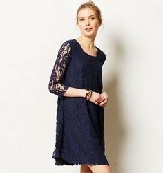 NWT Anthropologie PUELLA Amare Lace Shift Swing Tunic Dress XS PETITE Navy Blue #Anthropologie #Tunic #Casual