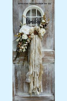 July 2018 Wreaths Creations by Custom Designers Sharing a shabby chic wreath created by Wreath Whisp Shabby Chic Kranz, Shabby Chic Wreath, Shabby Chic Crafts, Trendy Tree, Wreath Crafts, Diy Wreath, Tulle Wreath, Burlap Wreaths, Wreaths For Front Door