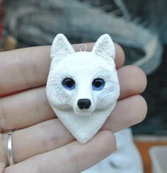 White Wolf face, pendant, fantasy, polymer clay, necklace, geeky jewelry, unique gift