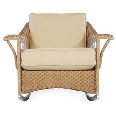 Lloyd Flanders Nantucket Lounge Rocking Chair with Cushions Finish: Antique Khaki, Fabric: Dupione Aloe, High UV Polyester