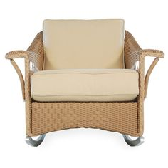 Lloyd Flanders Nantucket Lounge Rocking Chair with Cushions Finish: Chicory, Fabric: Tortuga Stripe Royale, High UV Polyester