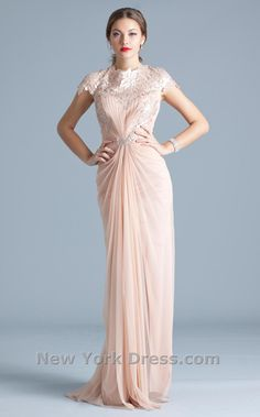 Luxurious Floral Lace Draped Evening Gown by Tadashi