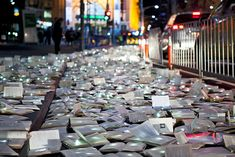 Spanish art collective Luzinterruptus was commissioned to create a work of art that, quite literally, stopped traffic. 10,000 discarded books, donated by public libraries and collected by the Salvation Army, were lit up and then arranged to look like a massive river overtaking the city. First created in New York, Literature vs Traffic was bigger and better this time, ultimately becoming their largest work to date.