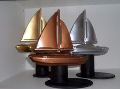 Great idea for Raingutter Regatta awards - cheap toy boats spray painted gold, silver, and bronze