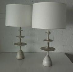 """Pair of Gray Stained Oak """"Metro"""" Lamps by Christopher Anthony Ltd.   From a unique collection of antique and modern table lamps at https://www.1stdibs.com/furniture/lighting/table-lamps/"""