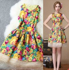 WA23483 2014 NEW European America Brand Women Fashion spring summer real silk print organza cute slim dress designer quality XL