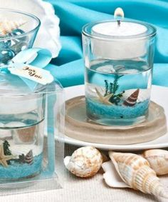 Beach themed candle favor