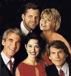 [From top]: Robert Newman & Kim Zimmer, [Bottom row L to R]: Michael Zaslow, Wendy Moniz & Grant Aleksander as Josh and Reva, Roger, Holly and Phillip. Soap Opera Stars, Soap Stars, Reality Shows, Tv Soap, Guinness World, Best Soap, Young And The Restless, Old Tv Shows, Tv Guide