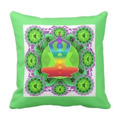 SANSKRIT GREEN HEART CHANTING MANTRA ART THROW PILLOW - home gifts ideas decor special unique custom individual customized individualized