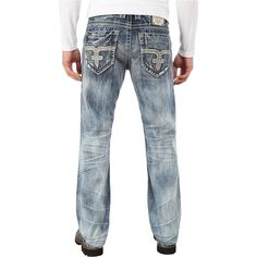 Rock Revival Emmet J4 (Medium Blue) Men's Jeans ($101) ❤ liked on Polyvore featuring men's fashion, men's clothing, men's jeans, blue, mens blue jeans, mens jeans, mens faded jeans, mens low rise straight leg jeans and mens leather jeans
