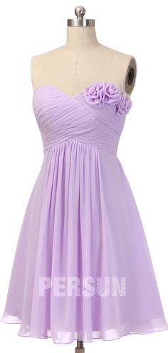 Robe de cocktail pour mariage empire lilas courte bustier coeur drapé avec des fleurs fait-main