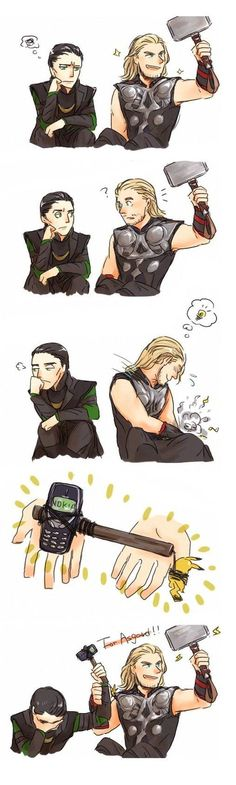 "Thor and Loki with Mjolnir and Nokia. Loki is like ""Thor, really? Marvel Dc Comics, Marvel Jokes, Ms Marvel, Humour Avengers, Funny Marvel Memes, Funny Memes, Funny Comics, Loki Funny, Funny Avengers"